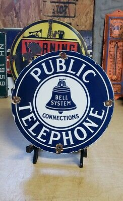 $ CDN54.18 • Buy PUBLIC TELEPHONE Porcelain Sign 5 Cent Vintage Public Phone Booth Bell System