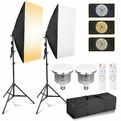 Dimmable LED Softbox Diffuser Stand Kit Photo Studio Continuous Lighting Video • 39.99£
