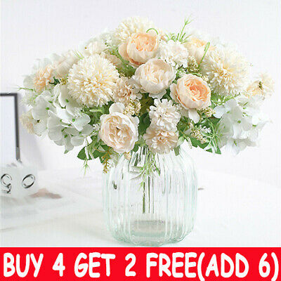 Silk Peony Artificial Fake Flowers Bunch Bouquet Home Wedding Party Garden-Decor • 4.39£