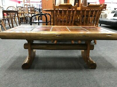 Rustic Style Coffee Table Carved From Tree Detail With Tile Top - CS E23 • 19.99£