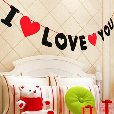 Non-woven I Love You Bunting Banner Wedding Marriage Room Valentine's Day DeOIZ • 2.52£