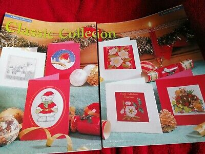 Cross Stitch Chart 6 Classic Christmas Card Charts  Mice Flowers Robin Snow Roof • 1.99£