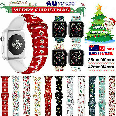 AU12.34 • Buy Christmas Silicone Sport Band Wrist Strap For Apple Watch Series SE 1-6 38/42mm