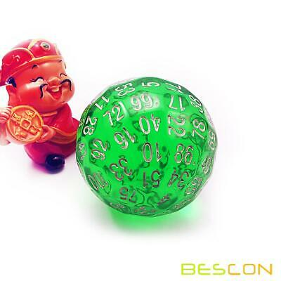 AU22.98 • Buy Bescon Translucent Green Polyhedral Dice 100 Sides, Transparent D100 Game Dice