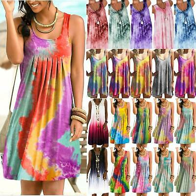 AU16.33 • Buy Plus Size Women Boho Tie Dye Tank Mini Dress Summer Beach Holiday Vest Sundress