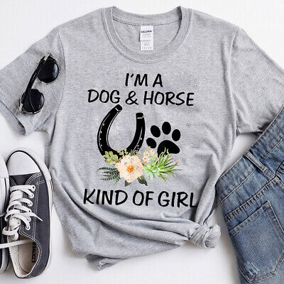 $19.99 • Buy I'm A Dog And Horse Kind Of Girl Paw Print Shirt Gift Tee T-Shirt