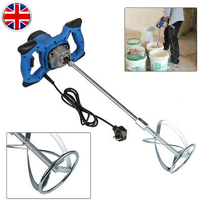 1600W 220-240V Single Paddle Electric Plaster Cement Mixer 6-Gear Variable Speed • 38.95£