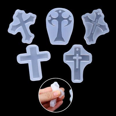5pcs Cross Resin Mold Silicone Jewelry Making Casting Mould Craft DIY Tools  UK • 3.79£