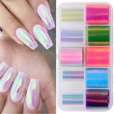 10Rolls/Set Colorful Nail Foil Stickers Decals Mirror Laser Effect Stickers  • 4.58£