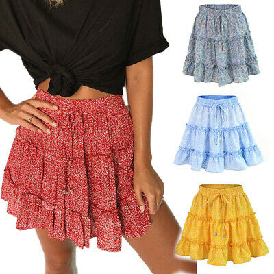 Summer Boho Women High Waist Elastic Ruffle Short Tiered Skirt Knee Length Dress • 7.99£