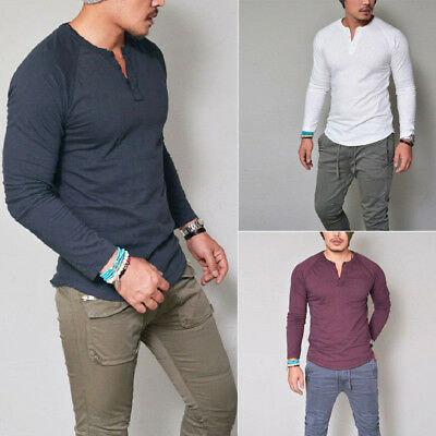 Mens Casual Slim Fit Long Sleeve T-shirt Tops Henley Grandad Collarless Button • 9.28£