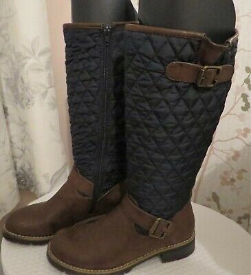 Womens PAVERS Knee High Long Brown Boots * Navy Quilted Leg *Size 4 *EU 37 *VGC  • 8.90£
