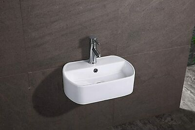 NEW Modern Cloakroom/Bathroom Wall Hung / Wall Mounted Ceramic Basin HS1970 • 83.99£
