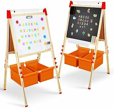Magicfun Kids Art Easel, Wooden Double Sided Black White Painting Board, Height  • 56.99£