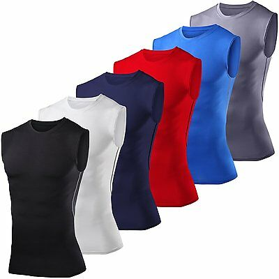 Mens Compression Base Layer Thermal Tank Sleeveless Vest T-shirt Gym Sport Tops • 7.79£
