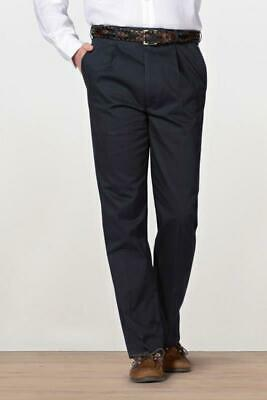 BHS ATLANTIC BAY Mens Black Chino Trousers Pleat Front Elasticated Inside Waist • 11.99£