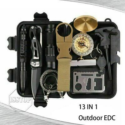 $22.95 • Buy 13 In 1 Outdoor Emergency Survival Gear Kit Camping SOS Tactical EDC Tool Case