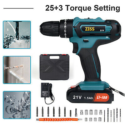 View Details 21V 25+3 Electric Cordless Impact Drill 2-Speed With Lithium Battery & Bits Set • 40.29$