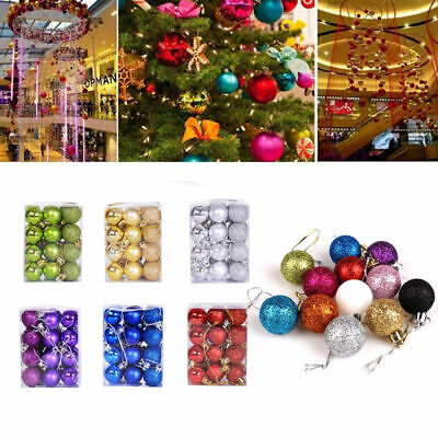 24Pcs/Pack Christmas Tree Balls Home Decorations Baubles Party Wedding Ornament • 3.69£