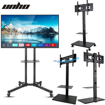 £57.93 • Buy Mobile TV Cart Mount Stand 4 Wheels Rolling TV Support Holder W/Shelf Strong NEW