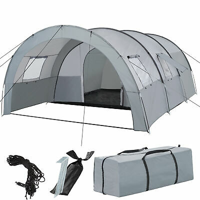 Tunnel Tent Camping Hiking Outdoor Family Canopy Sporting Carrying Bag New Grey  • 114.95£