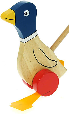 Namesakes Baby Toddler Push Along Wooden Toys For 1 2 & 3 Year Olds : Cute Blue • 25.18£