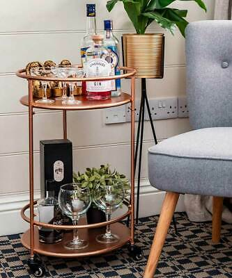 £59.99 • Buy Rose Gold Drinks Trolley With 2 Tiers 30's Art Deco Vintage Home Bar Cart