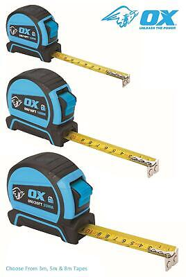 OX Tools Pro Soft Grip Magnetic End Auto Lock Tape Measure, Choose From 3m,5m,8m • 6.99£