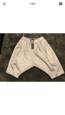 Ted Baker YOLO Silver Lo Crotch Cropped Hareem  Pants/trousers Sz 3 (12) Rrp £89 • 42.99£