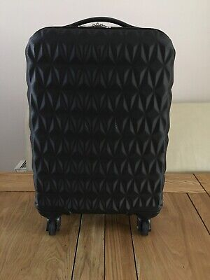 Primark Suitcase Cabin Case Hard Shell Four Wheels Black Luggage Carry On Case • 6.99£