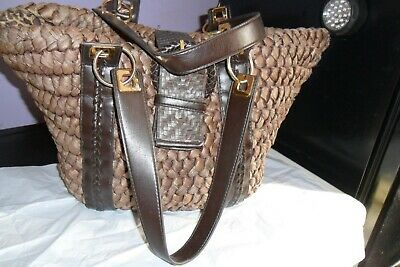 M&s.autograph Brown Straw Shoulder Bag.great Cond.animal Print Lining.17x11x6  • 3£