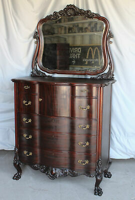 $1875 • Buy Antique Mahogany Highboy Chest Of Drawers – Highly Carved – Claw Feet