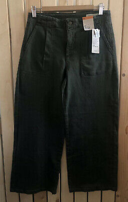 BNWT Ladies M&S Khaki Green Wide Cropped High Rise Denim Trousers Size 10 Casual • 17.99£