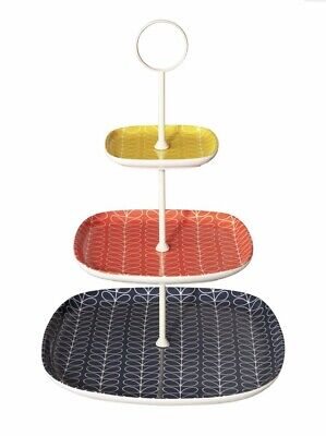 Orla Kiely Linear Stem 3 Tier Earthenware Cake Stand NEW IN BOX • 90£