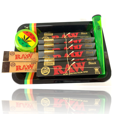 Wise Skies Smoking Gift Tray Set Black RAW Limited Edition Rolling Paper Grinder • 10.99£
