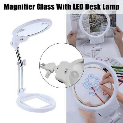 LED Desk Lamp Magnifying Magnifier Glass With Light Stand Clamp For Craft Read U • 14.97£