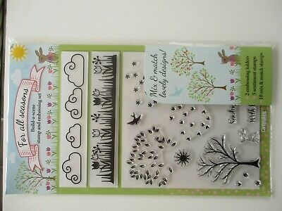 Spring Clear Stamps & Embossing Set - Trees Flowers  - Craft Clearance • 3£