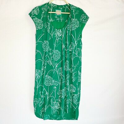 Anthropologie Maeve Floral High Low Shift Dress Green Size 10 • 27.88£
