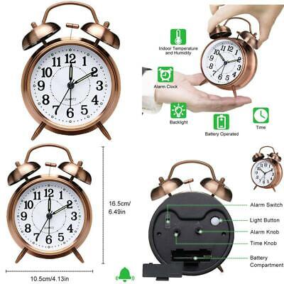Retro Alarm Clock Old Fashioned Bedside Alarm Clock Non Ticking Twin Bell Metal • 14.65£