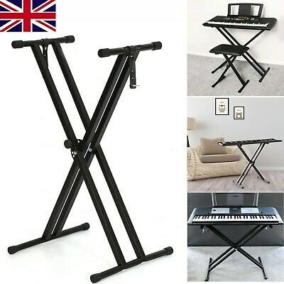 Electronic Piano X  Double Stand Music Keyboard Standard Rack Adjustables Metal • 11.99£
