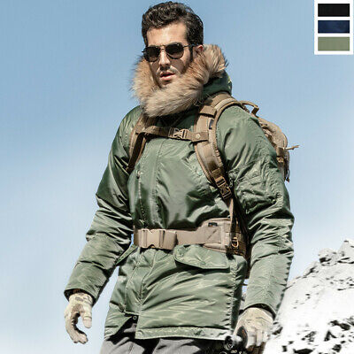 $108.88 • Buy Military N3B Jacket Pilot Cold Weather Parka Hooded Winter Cotton Padded Coat