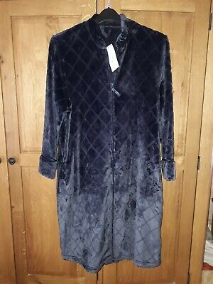Marks & Spencer Ladies Navy Velour Dressing Gown,size 12-14,brand New With Tag • 12£