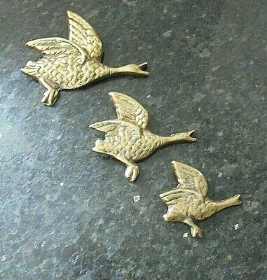 3 Vintage Brass Wall Hanging Flying Ducks / Geese  • 29.99£