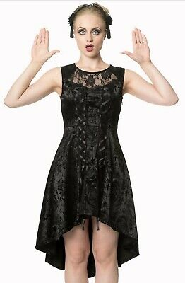 Gothic Punk Black Vampire Lace Roses Corset Skull Candy Dress By BANNED Apparel • 39.99£