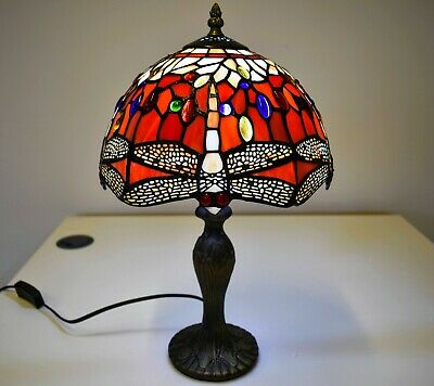 Tiffany Style Electric Table Lamp Handcrafted Glass Bedside Home Decor 10  Shade • 46£