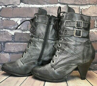 Womens Red Herring Grey Leather Zip Up High Heel Ankle Boots Size UK 5 EUR 38 • 14.99£
