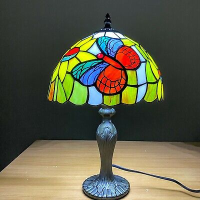 Tiffany BUTTERFLY Antique Style Hand Crafted Glass Bedside,Table,Desk Lamps UK • 46£