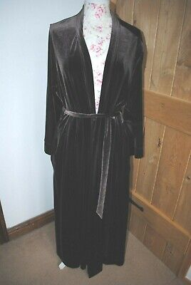 M&S Autograph Brown Velour Full Length Dressing Gown Size 20-22 Vgc • 21£