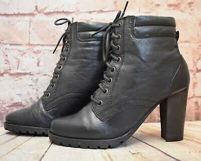 Womens Red Herring Black Leather Lace Up High Heel Ankle Boots UK 5 EUR 38 • 14.99£
