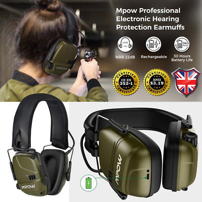 Mpow Green Electronic Shooting Ear Defenders / Clay Pigeon Hunting Ear Muffs • 30.59£